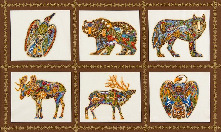 Animal Spirits 2 Blocks - Earth Fabric