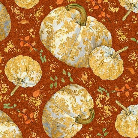Autumn Shimmer Tossed Pumkins - Pumpkin Fabric