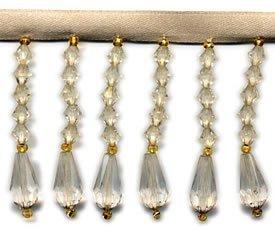 Beaded Fringe - Ivory Crystal (2 drop)