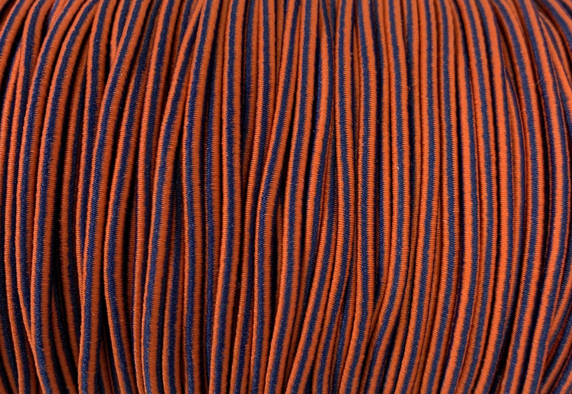 Elastic Polymet Cord - Blue/Orange Stripe  1/8 Wide