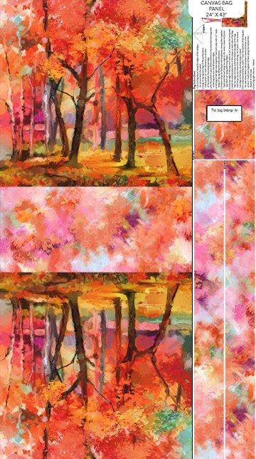 September Morning Canvas Bag Panel - Red Multi (24 x 43)