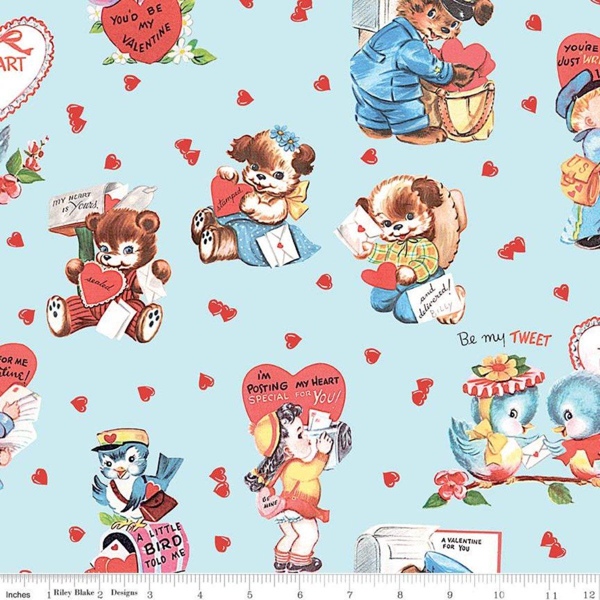 Love Letters Main - Aqua Fabric