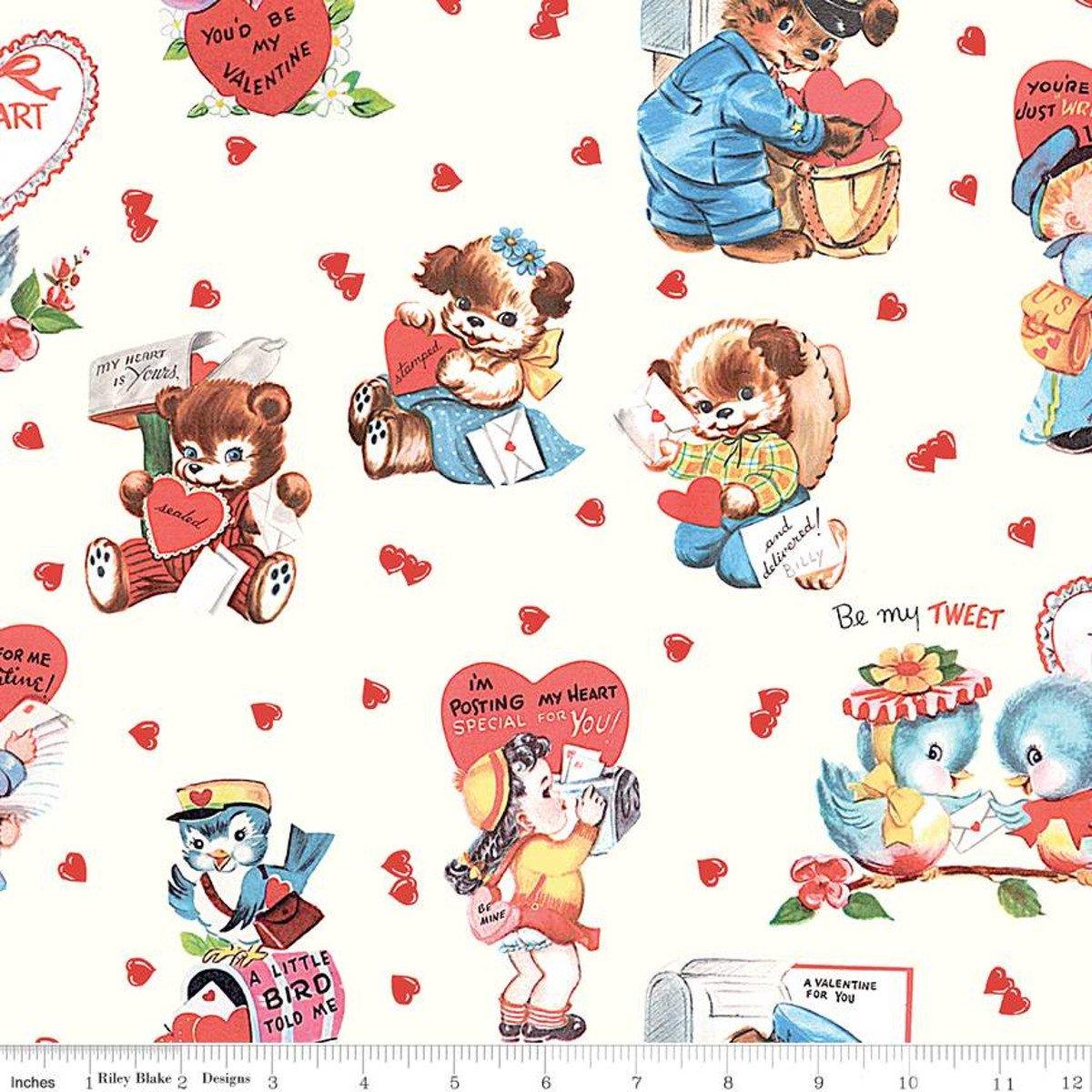 Love Letters Main - Cream Fabric
