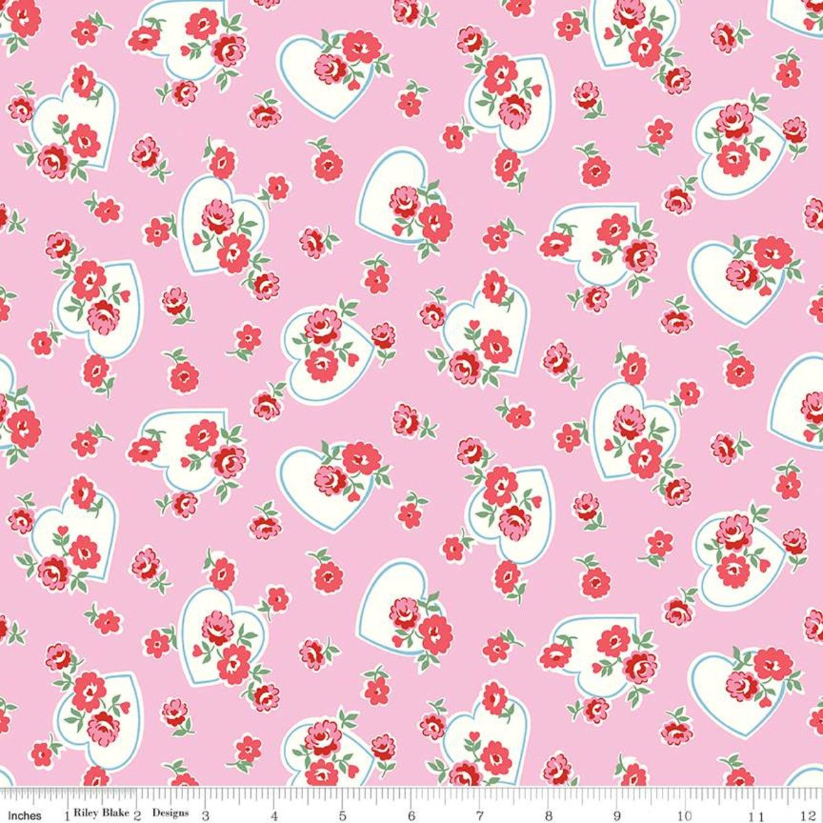 Love Letters Hearts - Pink Fabric