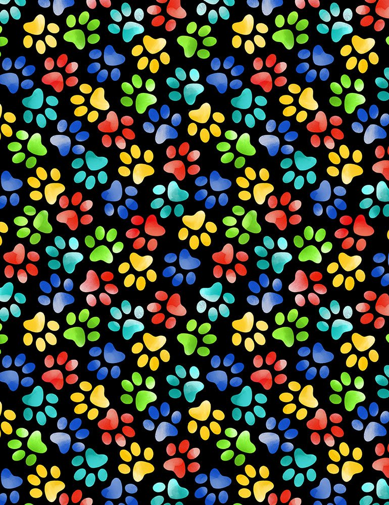 Paw Prints  - Black Fabric