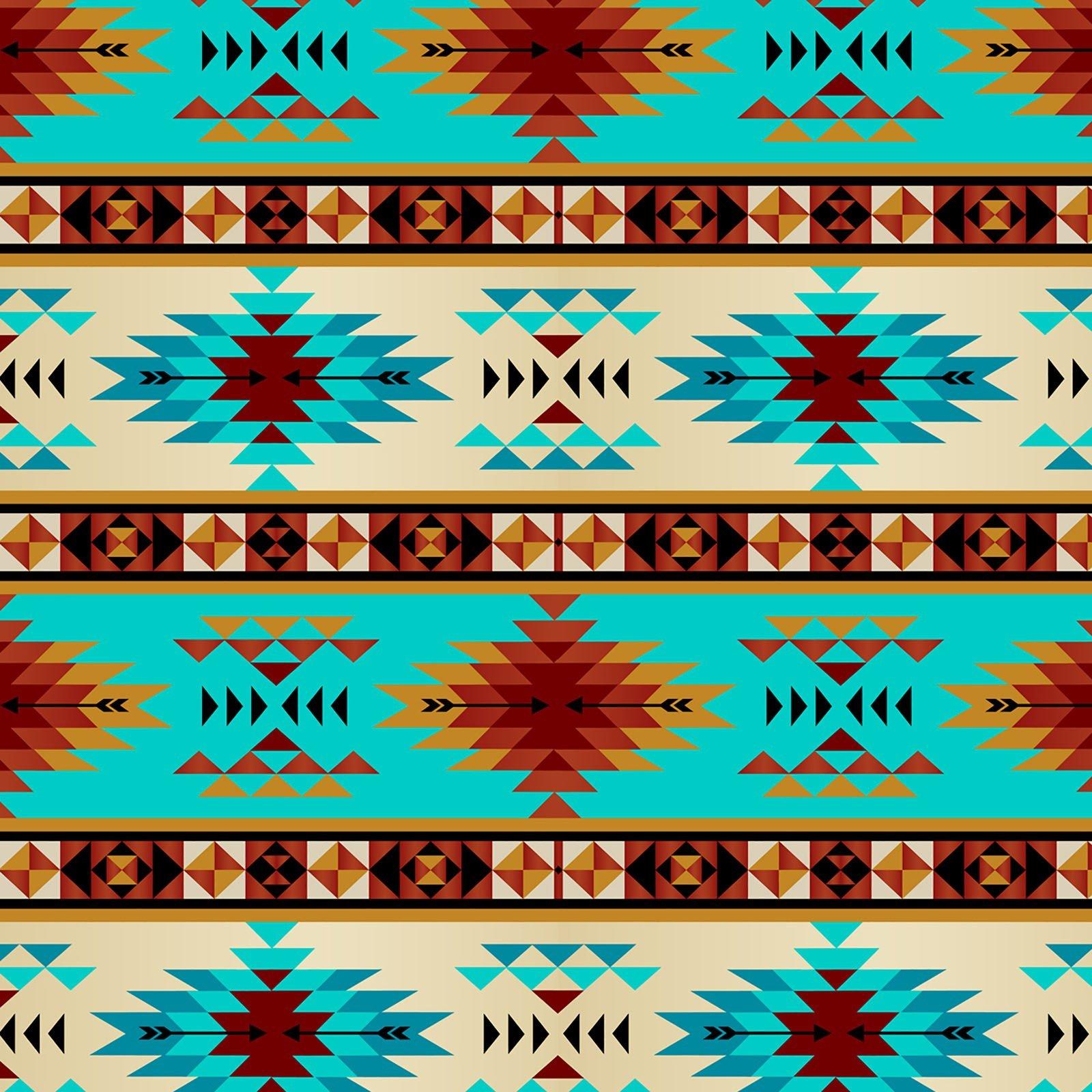Tribal Stripe -Turq/Rust Fleece