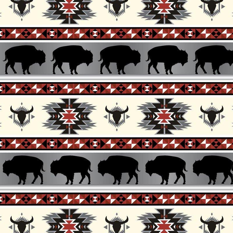 Buffalo Tribal - Red/Gray Fleece