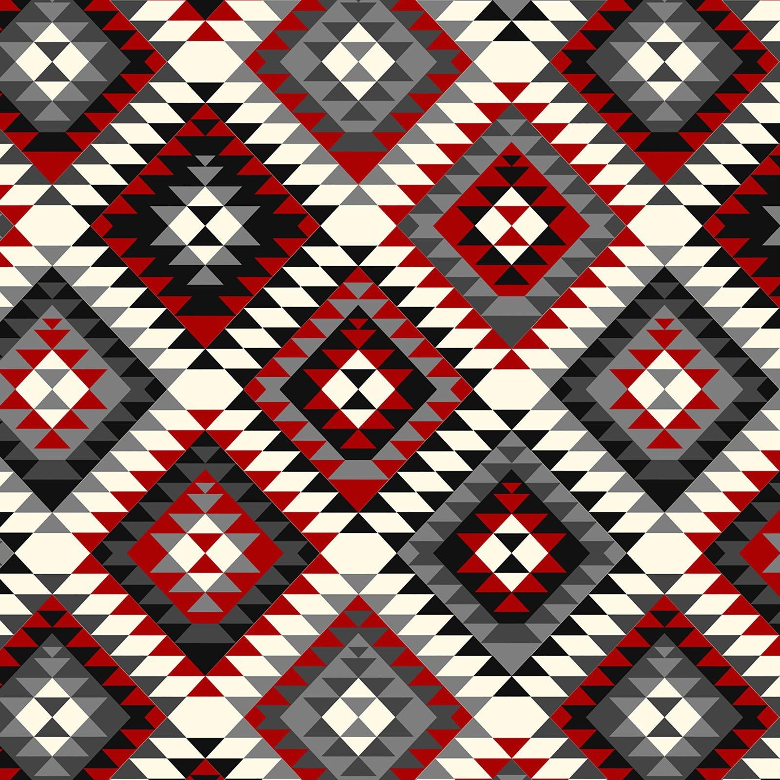 Aztec Tribal - Red/Gray Fleece