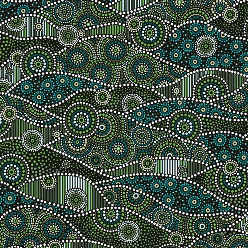 Down Under Waves - Green Fabric