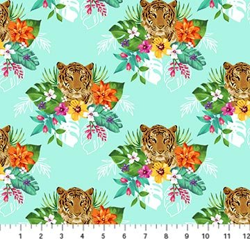 Tiger Tales Faces & Flowers - Turquoise Digital Fabric