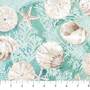 White Sands Seashells - Turquoise Digital Fabric