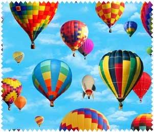 Bountiful Balloons - Blue Fabric