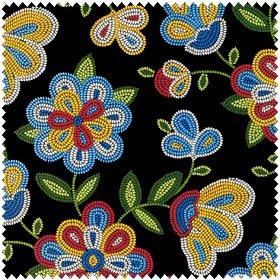 Beaded Native Flowers - Black Fabric