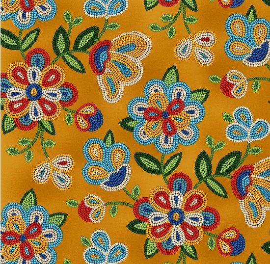 Beaded Native Flowers - Moosehide Fabric