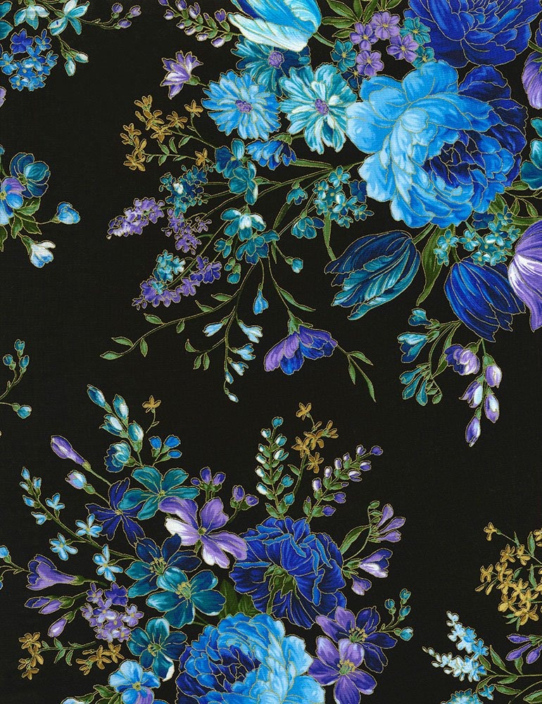 Enchanted Flowers - Black Fabric