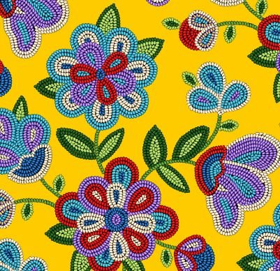 Beaded Native Flowers - Gold Fabric