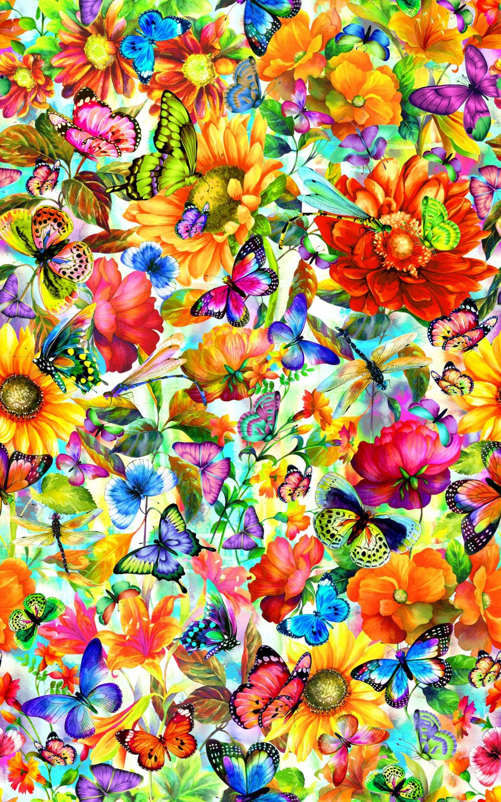 Fantasy Butterfly Floral - Multi Digitally Printed Fabric