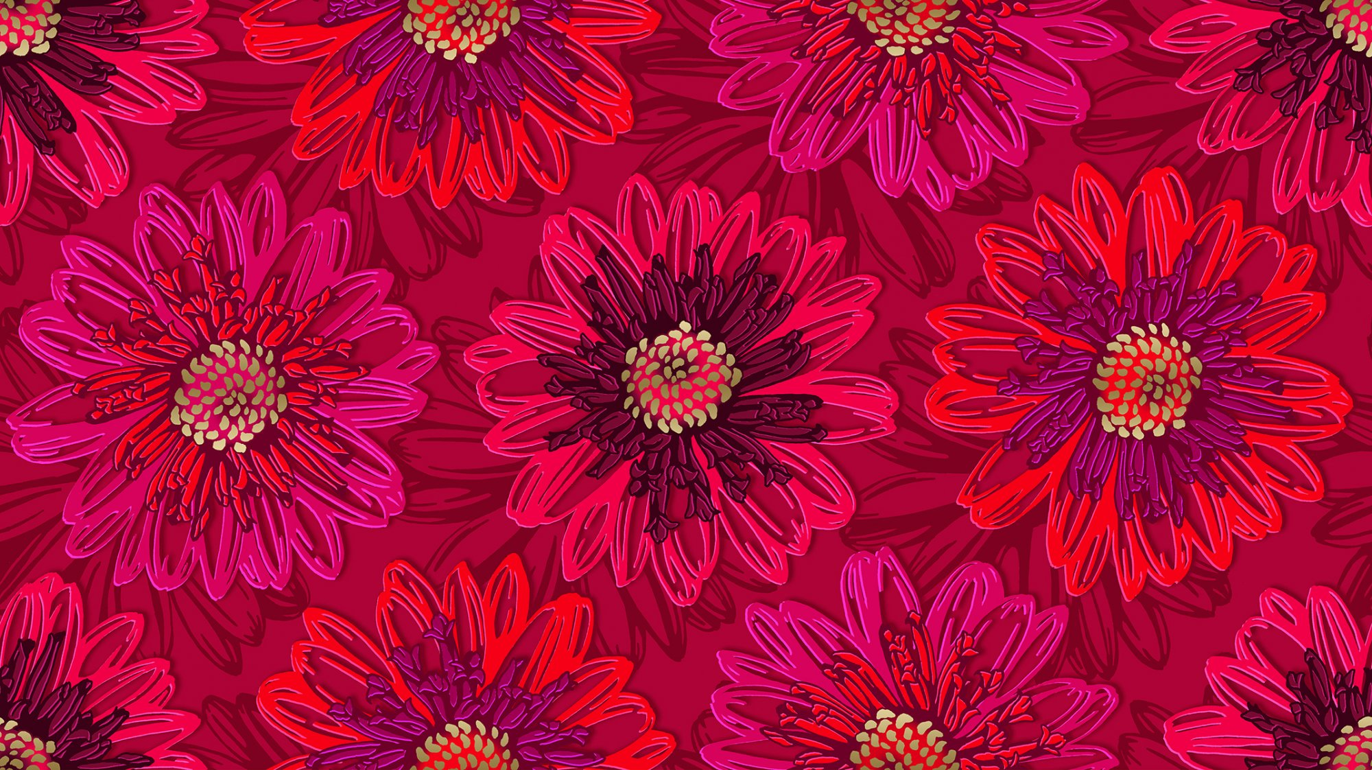 SO Good as Gold Embossed Blooms - Ruby Metallic Fabric
