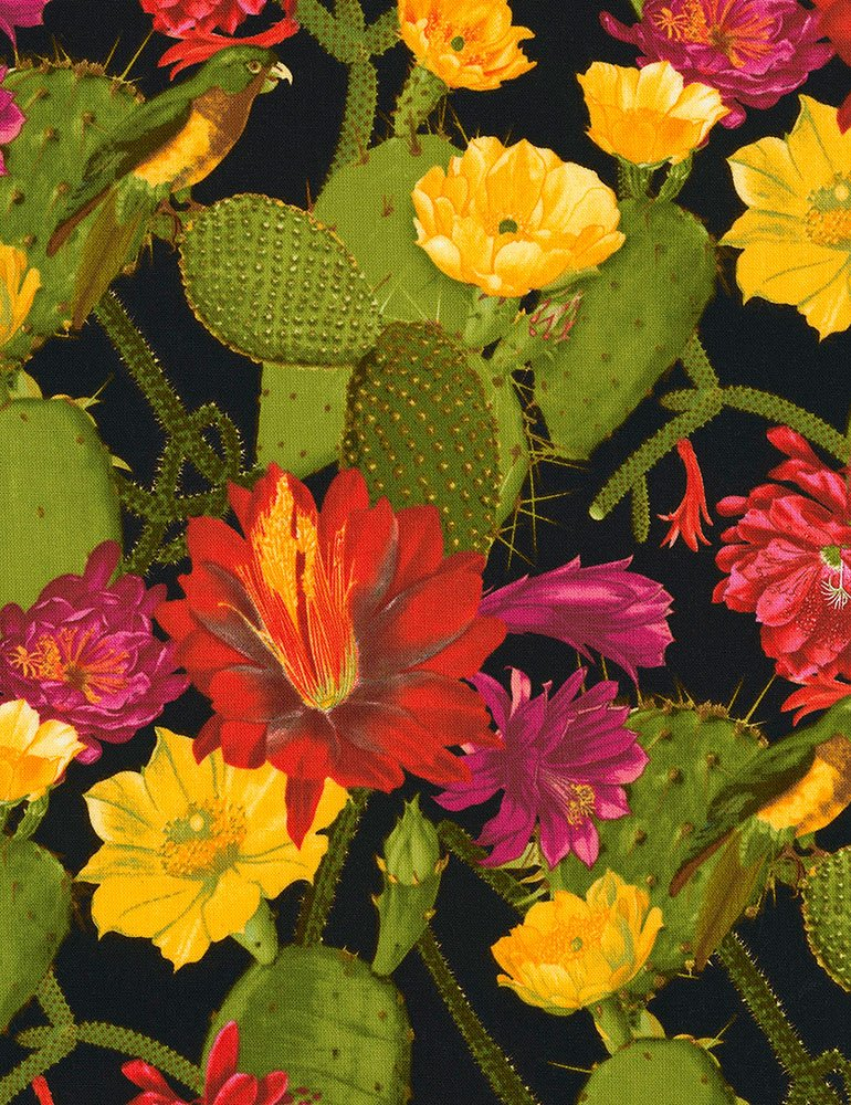 Bloomed Cacti - Black Fabric