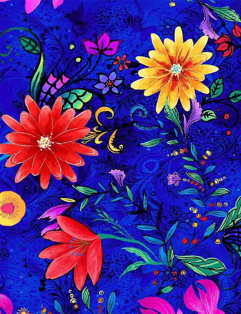 Whirlwind Large Florals DP - Blue
