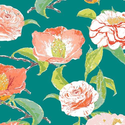 Floralish - Evergreen Camellia Fabric