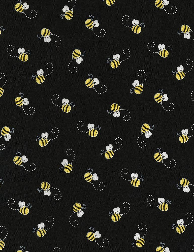 Bees - Black Fabric