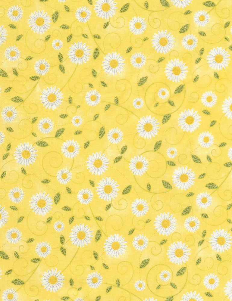 Daisy Vines - Yellow Fabric