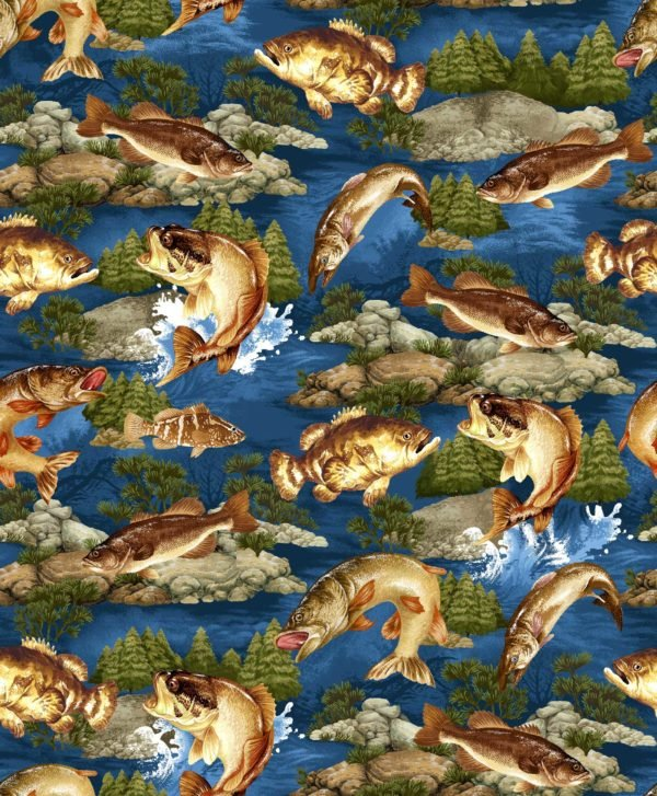 Go Fish Allover Fish - Blue Fabric