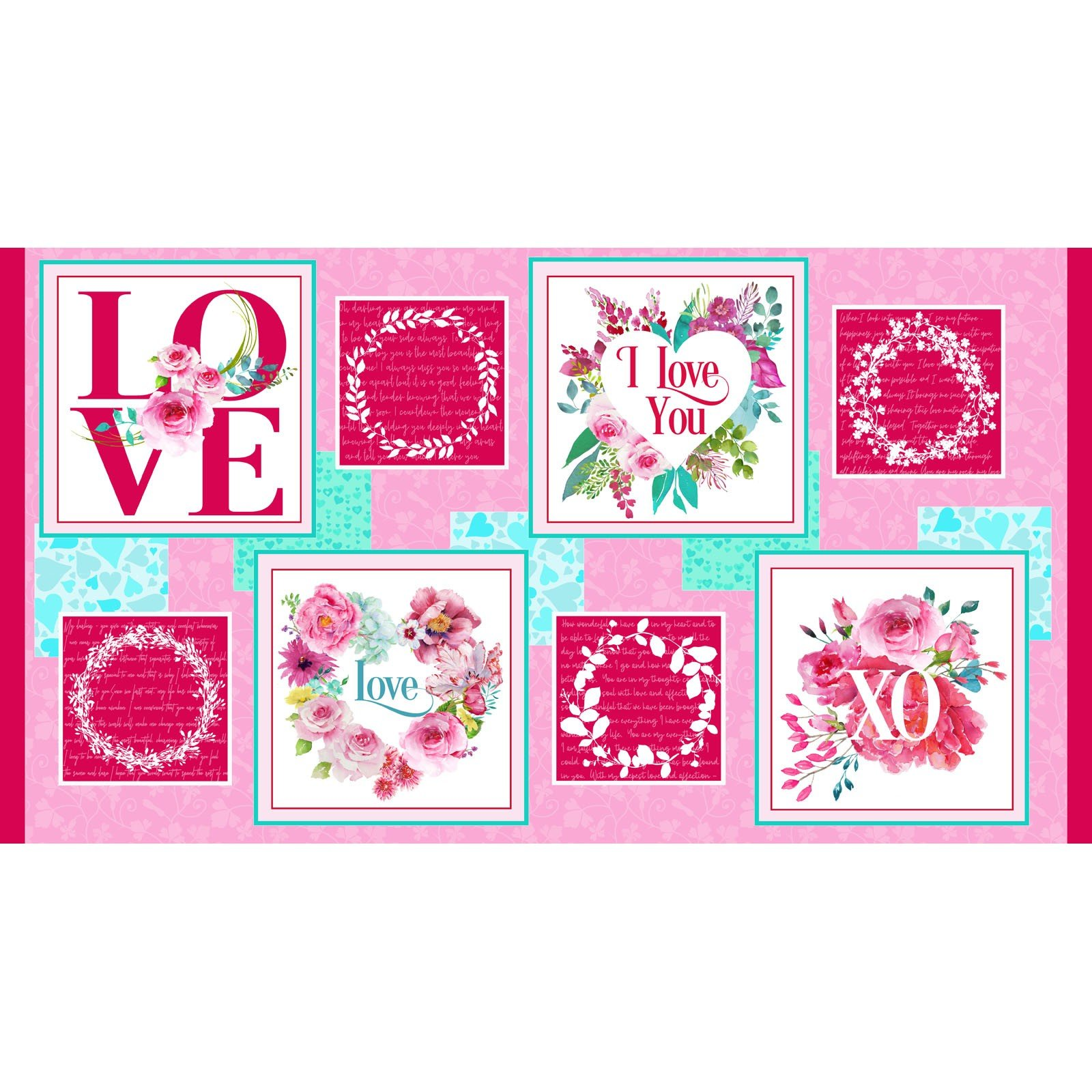 Love Letters Valentine Blocks Panel