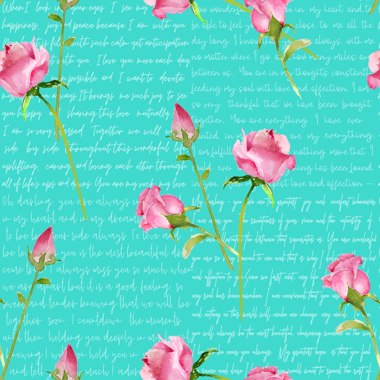 Love Letters Words & Roses  - Aqua Fabric