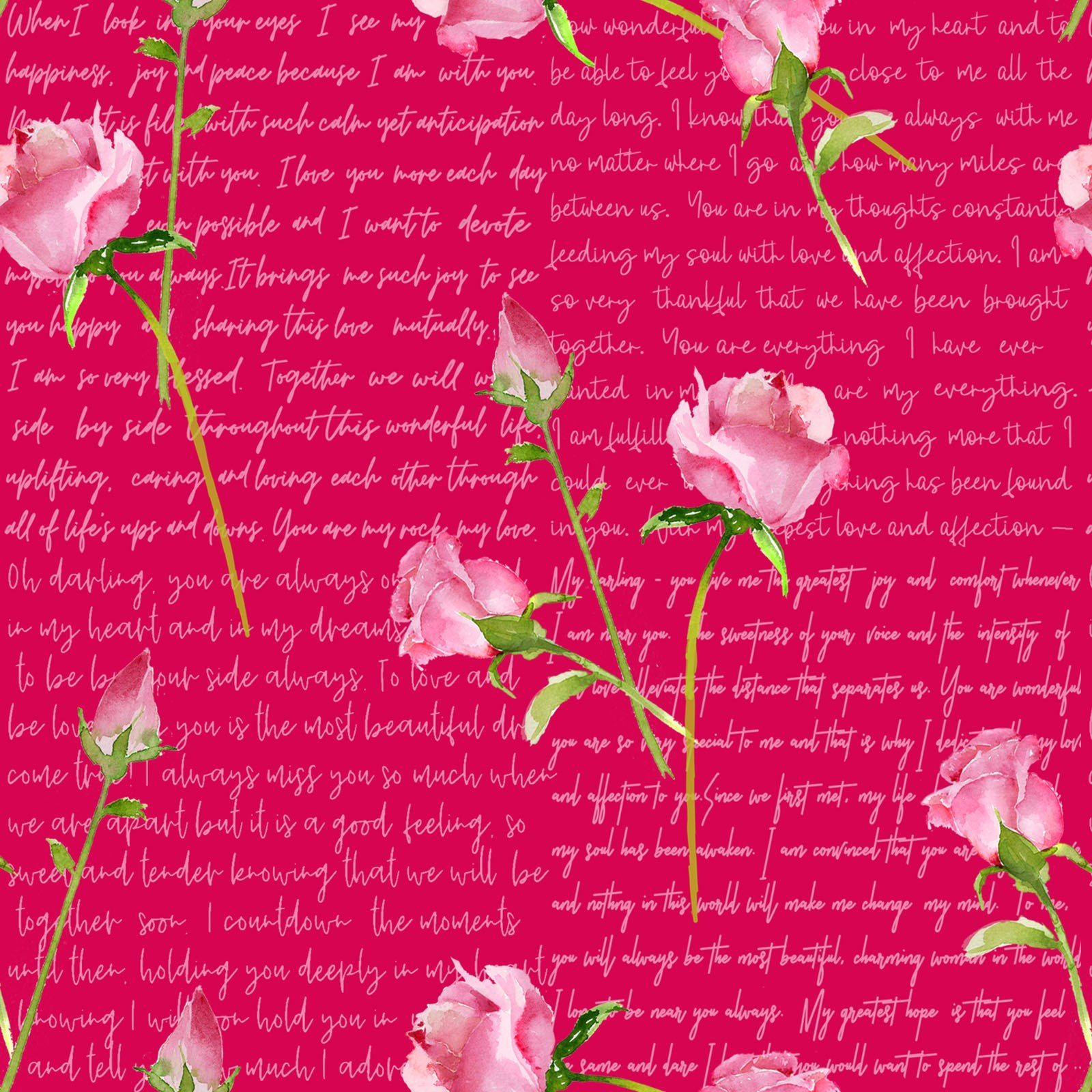 Love Letters Words & Roses  - Red Fabric