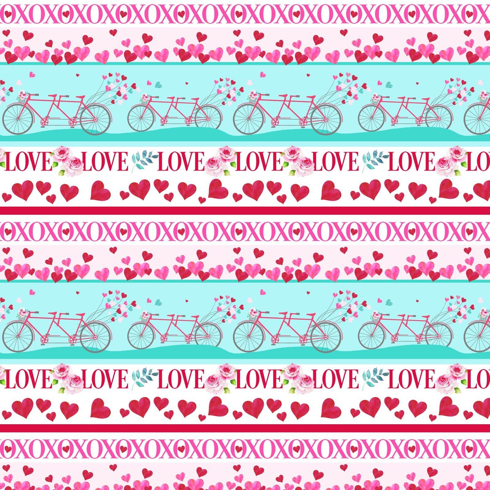 Love Letters Novelty Stripe - Red/Aqua Fabric