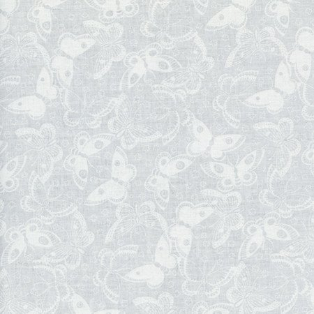 Butterflies - White on White Fabric