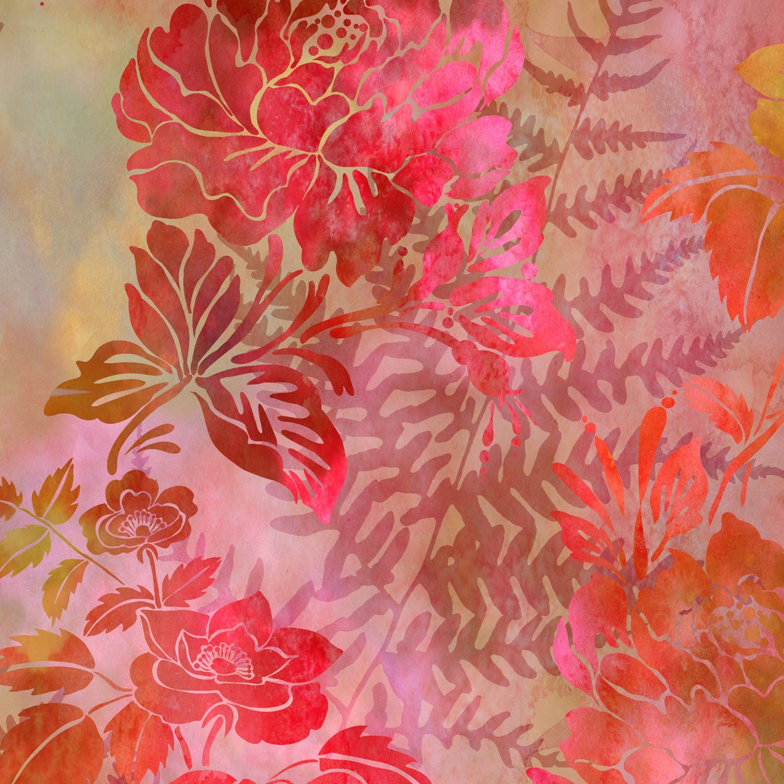 Garden of Dreams Floral - Red Glow Digital Fabric