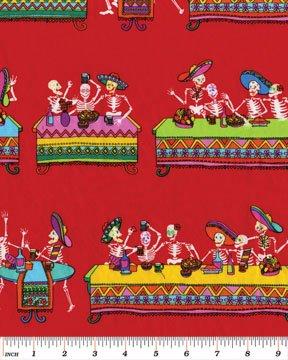 Dia De Los Muertos - Red Fabric