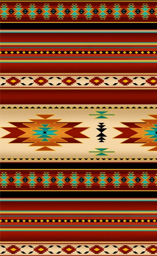 Native Saddle Blanket - Terra Cotta METALLIC Fabric