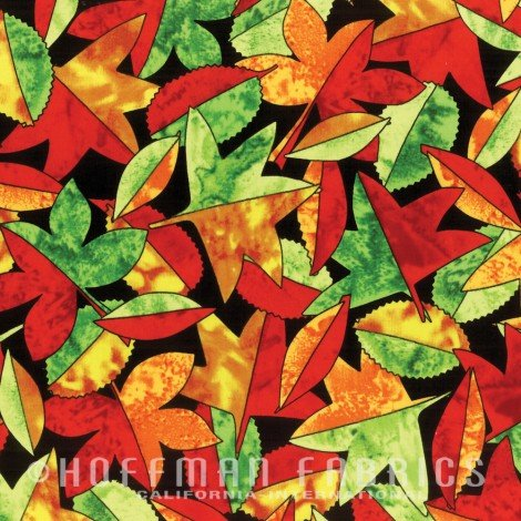 Autumn is for Birds Leaves - Multi Fabric