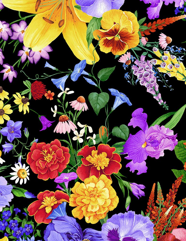 Allover Pansy & Lily Bouquet - Multi Fabric