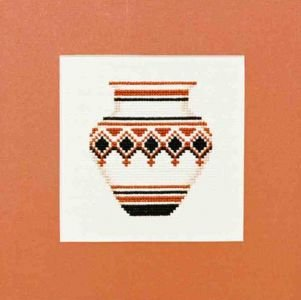 Polychrome Geometric Pot  Counted Cross Stitch Kit