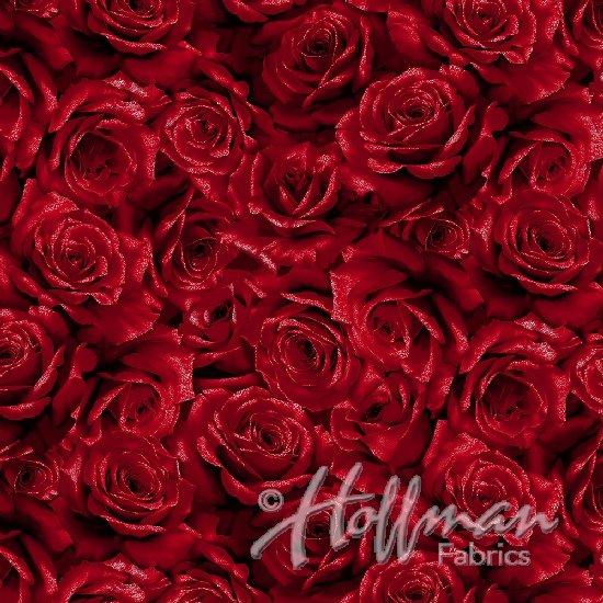 Cardinal Carols Roses - Crimson/Silver Fabric