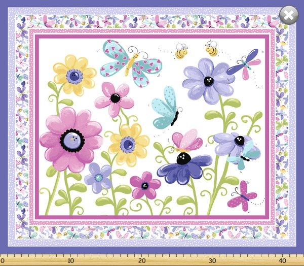 SB Flutter Floral Playmat Panel - Lilac
