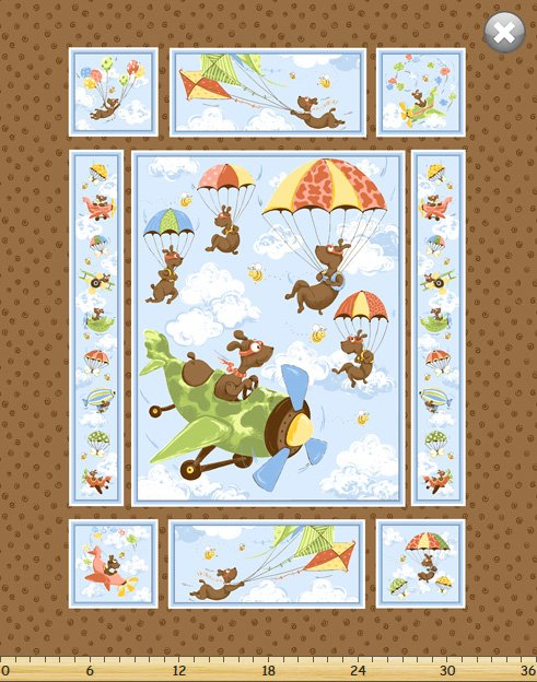 SB Zig Flying Ace Brown Quilt Panel