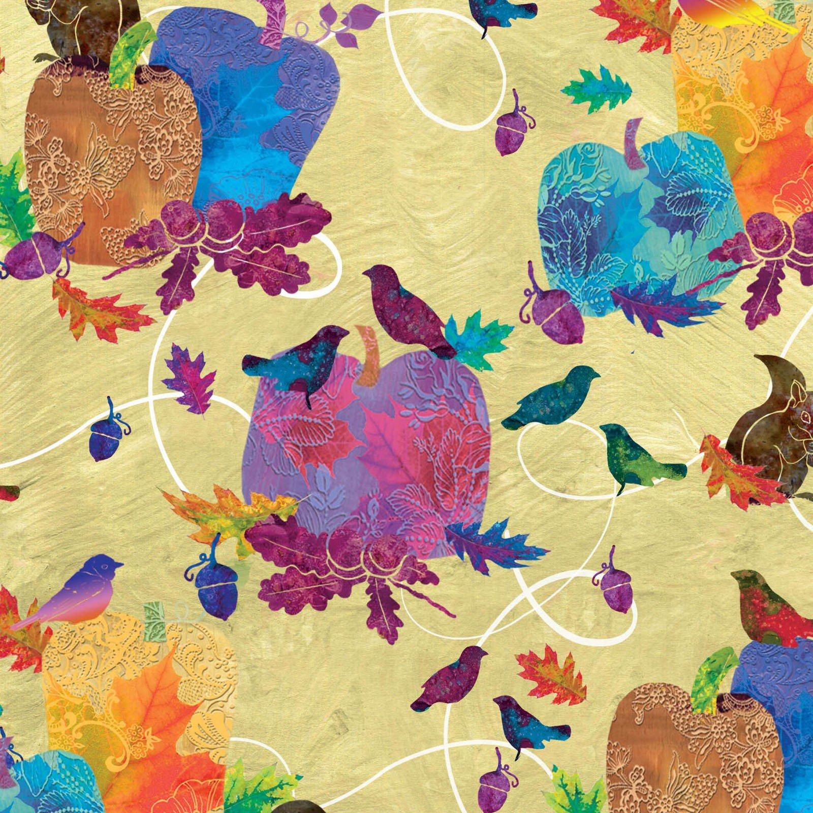 Autumn Hues Pumpkins & Birds - Green Fabric