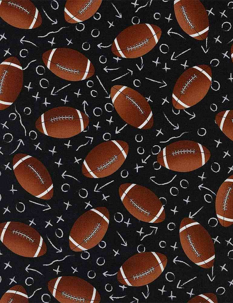Tossed Footballs - Black