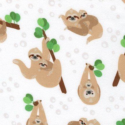 Cuddly Crew Sloths - White FLANNEL