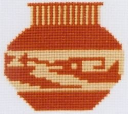 Red Clay Pot Counted Cross Stitch Kit