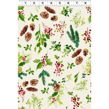 Merry & Bright Pinecone Toss  - Light Khaki Fabric
