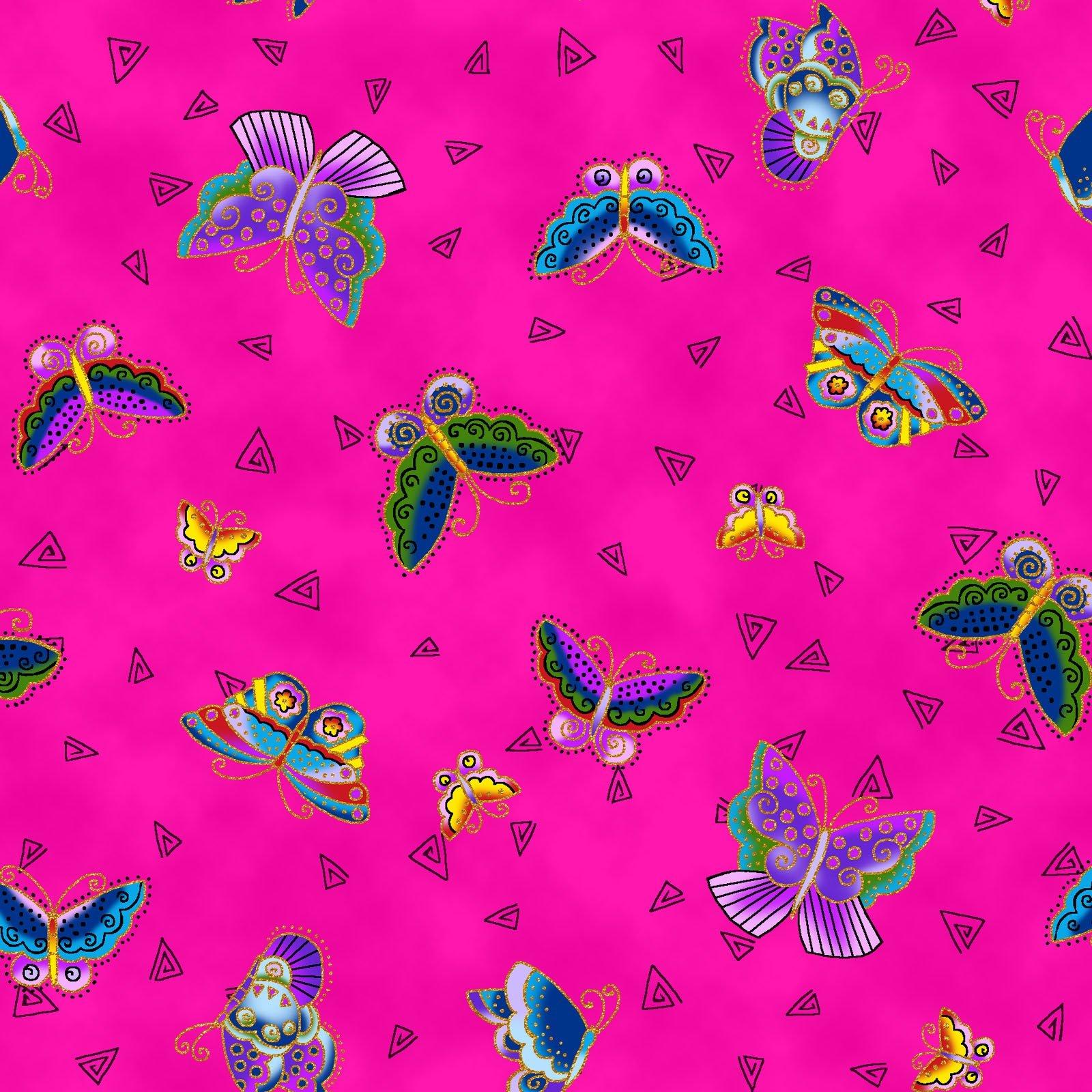 Feline Frolic Butterflies  - Fuchsia Fabric