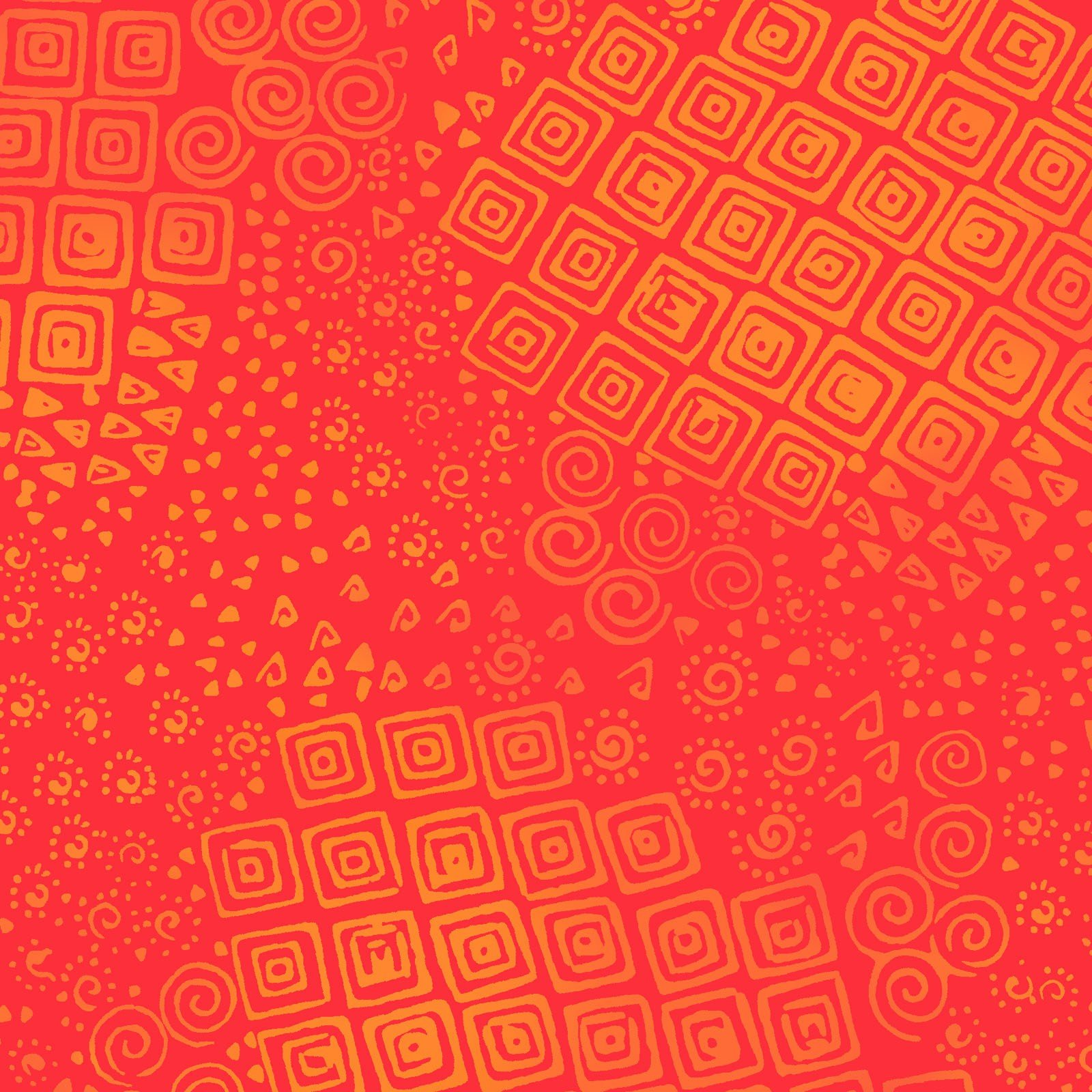Feline Frolic Tonal Geo - Tomato Fabric