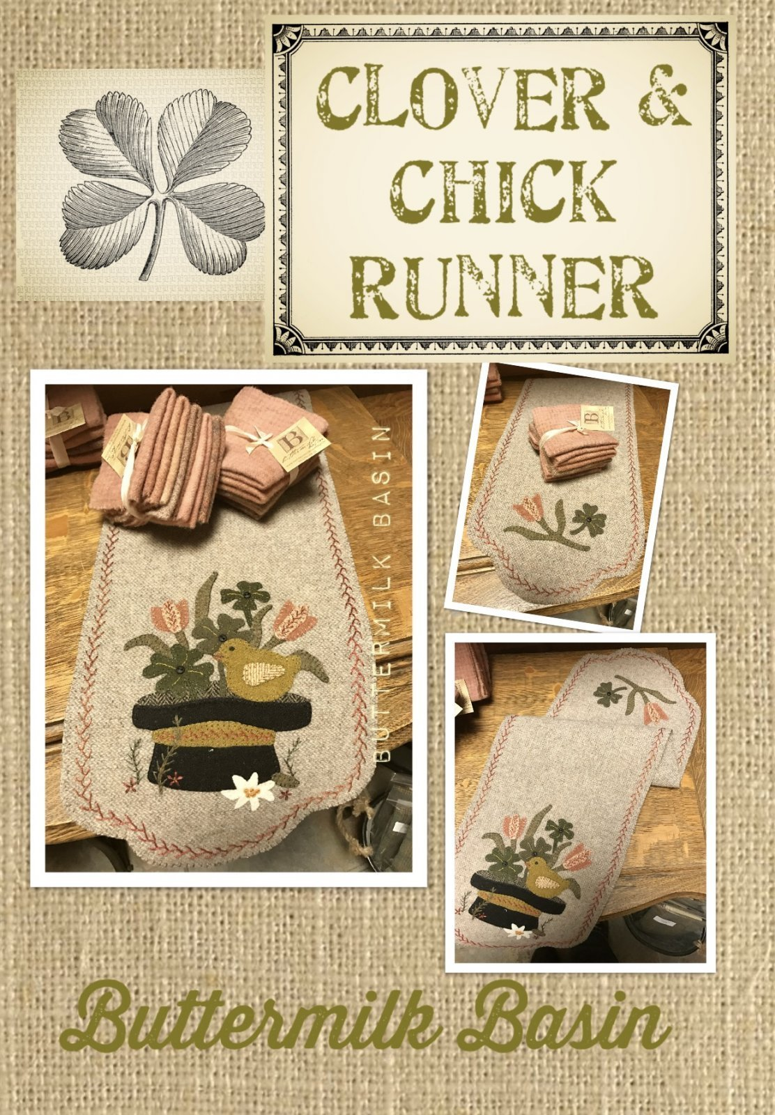 Clover & Chick Runner Wool Applique Kit